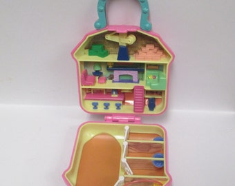 Vintage 1994 Polly Pockets CLONE Horse Ranch Set, Miniature MT HK Mini Knock - Off, Compact Case Only...Clubhouse Special