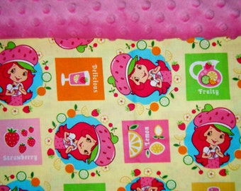 Nap Mat Cover / Toddler Cot Cover with Padded Minky Dot Headrest - Strawberry Shortcake Yellow