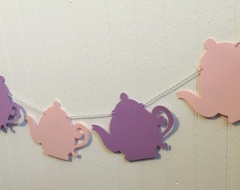 Teapot Garland Banner - Tea Party, Birthday Party, Spring Decor, Party decoration, Teapot Garland, Garden party, Baby shower, Bridal shower