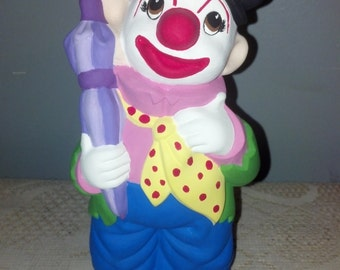 Ceramic Clown Coin Bank Hand Painted