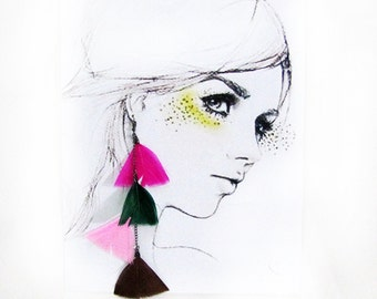Free Shipping/Blue-Fuchsia-Purple  Hippie Bronze Bohem Feathered  Earrings