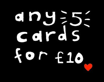Set of 5 Cards - choose any 5 cards - mix and match cards - greeting card pack - cute card set