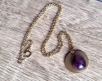 The Grape Pretender- Tumbled Amethyst Brass disc Assemblage Pendant Necklace