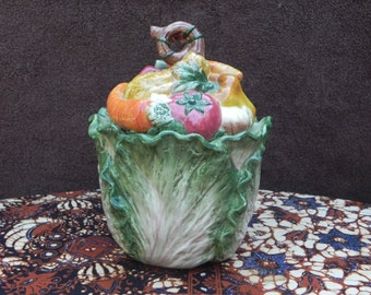 Vintage Fitz and Floyd Classics Vegetable Kitchen Majolica Container, Canister, or Jar with Lid