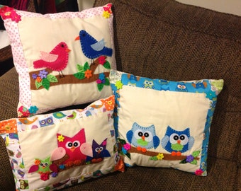 Hand embroidered pillow with Owls, birds, creative sayings. I have these 3 ready to ship!