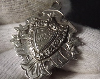Antique  Sterling Silver Albert Watch Chain Fob Medal by Marples and Beasley 1907