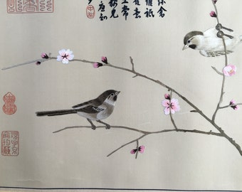 Chinese Embroidery- Sparrows and Plum Blossom