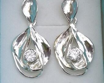 Zircon Silver Earrings ,Chandelier Silver Earrings ,Sterling Silver 925 Dangle Earrings ,Handmade Gemstones Earrings ,Bridal Zircon Earrings