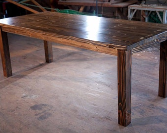 8u0027 Solid Wood Farmhouse Table | Farmhouse Dining Table | Farmhouse Kitchen  Table | Built