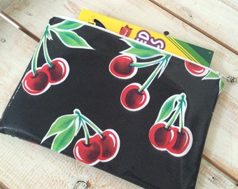Oil Cloth Art/Pencil Case in Black Cherry and Gingham