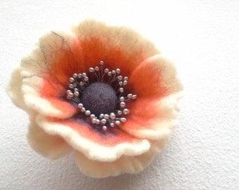 Felt Orange White Brooch , Wool felt jewelry, Flower Brooch, Felt Flower Pin, Orange Pin, Wool Brooch, Handmade wool art jewelry