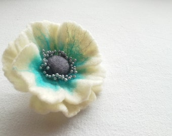 Felt White Turquoise Blue Flower Brooch, Felted Wool Flower, Flower Pin, Wool Felt Jewelry,Blue Hair clip and Brooch, Pin Flower, Handmade