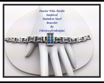 Doctor Who Tardis Stainless Steel Bracelet Jewelry inspired by Uberjewelrydesigns