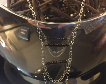 Handmade Silver Necklace with Pyrite Stones.