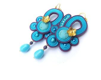 Blue Turquoise Earrings - Dangle Earrings, Long Drop Earrings, Turquoise and Purple Earrings, Soutache Earrings, Handmade Gift for Her