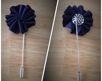 Navy blue lapel pin, boutonnière,