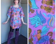 ZODIAC Vintage 1960's Colorful Psychedelic Cosmic Astrological Zodiac Sign Mini Dress Beach Cover Up Smock Top - Medium to Extra Large XL