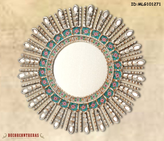 Decorative mirrors silver leaf round mirrors by decorcontreras for Large round decorative mirror