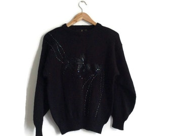 Black Embellished Sweater // 80s Batwing // Super Soft // Beading // 80s jumper