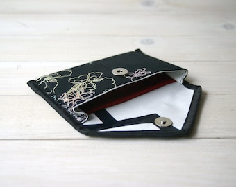 Recycled eco friendly Wallet Black Flowers Handmade Upcycled Repurposed Purse