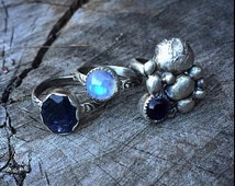 Sterling Silver and Amethyst Asteroid Ring-far right