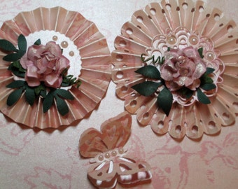 EMBELLISHMENTS   ROSETTE Pink Pearlized Metallic Paper Flowers With Butterfly Set of Three
