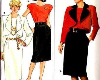 Vintage 1986 Butterick David Warren Pattern 4091 JACKET & DRESS  Misses Size 10