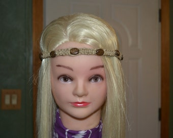 Brown speckled jasper and hemp tie on headband