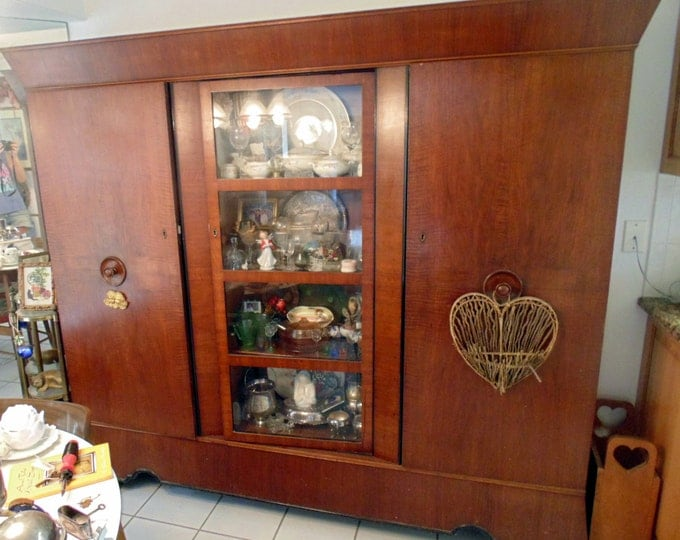 Antique Early 1900's China Cabinet, Bookcase, Display Cabinet, Furniture