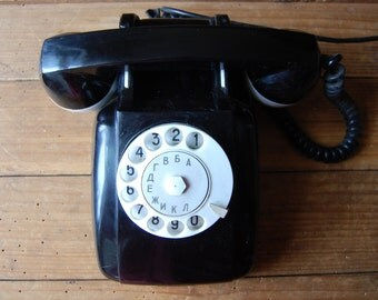 Vintage phone, Vintage office decor, Rotary phone, Vintage dial rotary phone, Retro phone, Dial desk phone, Black and white rotary phone