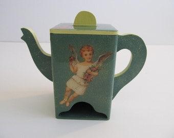 Tea Bag Dispenser, Tea Bag Holder, Tea Pots, Wooden Tea Pots, Wood Tea Pots, Tea Bag Storage, Tea Service, Tea, Angels Cherubs Retro Kitchen
