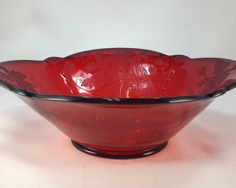 Paden City Crow's Foot Ruby Bowl Orchid Etch