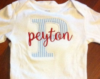 Appliqued and monogrammed baby onesie