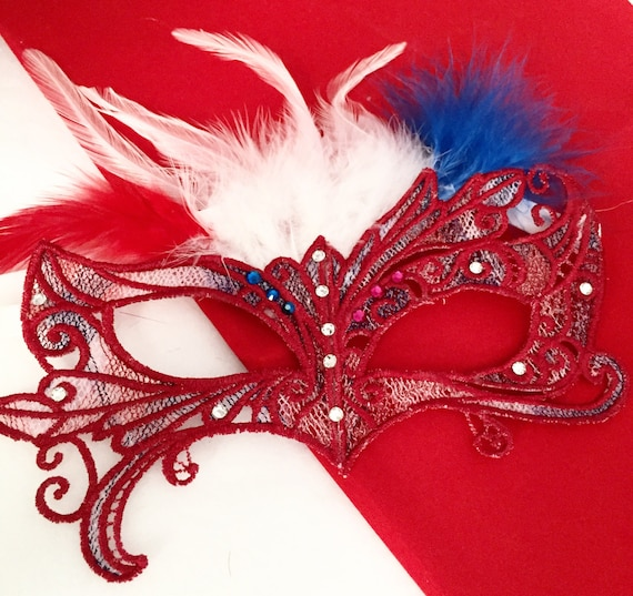 Flag Day! Lace feather crystal mask masquerade ball dance 4th of July Halloween