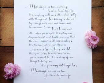 Modern calligraphy service for your favourite poem