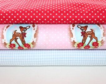 Fabric deer pink red polka dot 1,5 meter