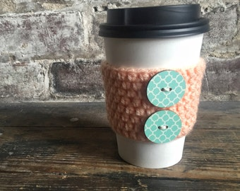Light Peach Coffee Cozy with Blue Buttons