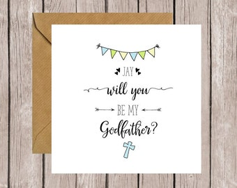 Personalised Will You Be My Godfather? Card