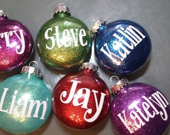 Personalized Glitter Ornaments- Name ornaments