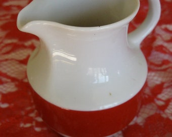50% Off German Red and White Mid Century Creamer Restaurant Ware