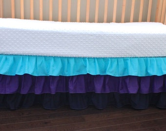 Girl Three Tier Ruffle Crib Skirt, Purple Aqua And Navy, Girl Bedding, Ruffles, Ready To Ship