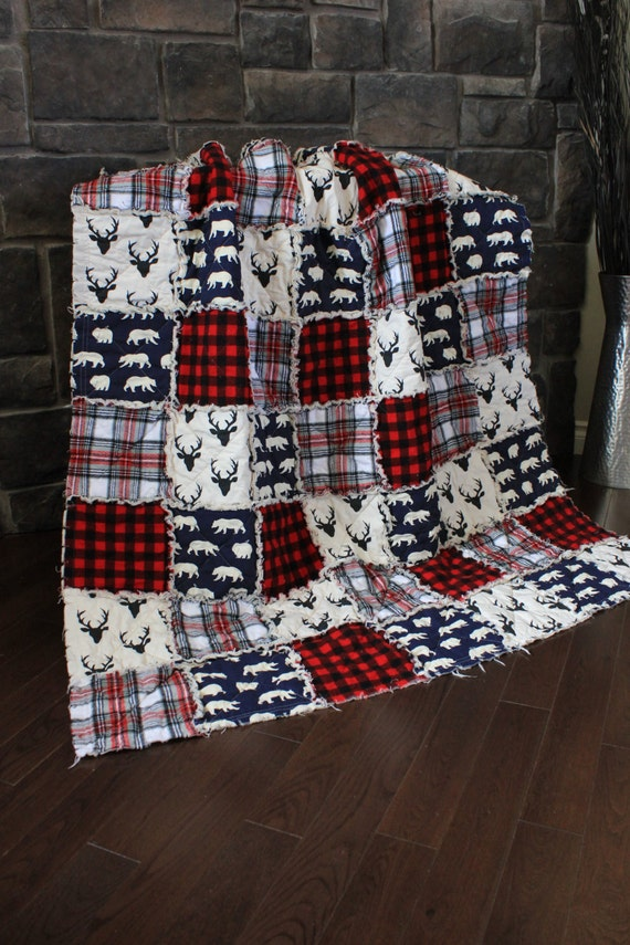 Plaid Baby Quilt: Rag Quilt Cabin Quilt Plaid Deer ThrowRed And Black By