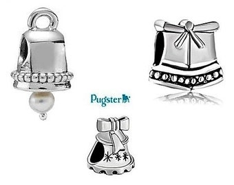 Authentic Pugster Brand Silver Christmas Wedding bell European beads you pick from three styles Help Save a cat/kitten