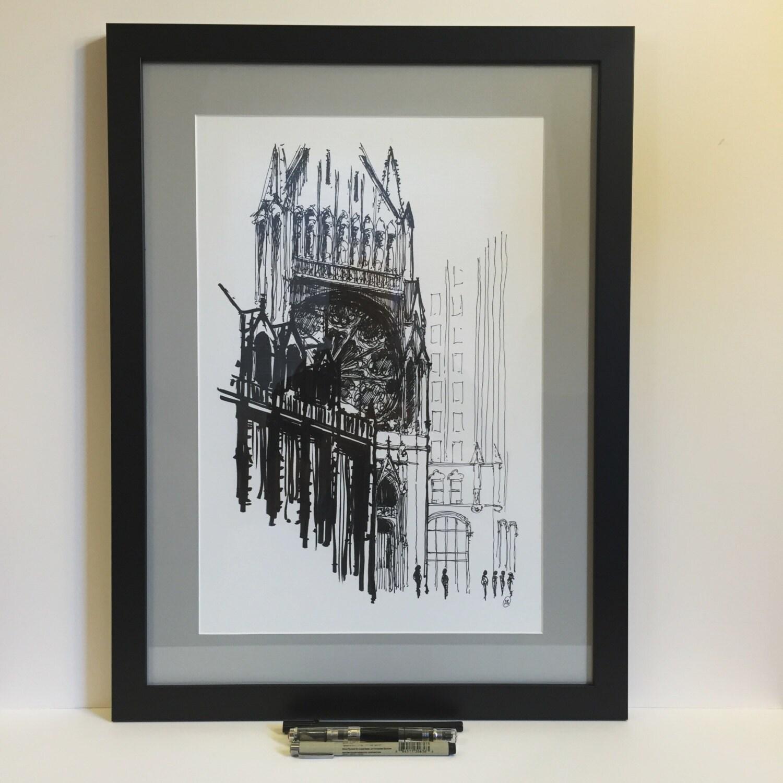 16x22 Custom Framed Chicago Art Print By Abanksillustration