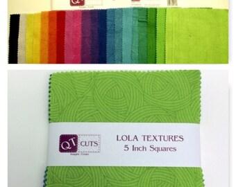 """Lola Textures 5"""" Quilt Squares Cotton Fabric Quilting Treasures  (20 squares)"""