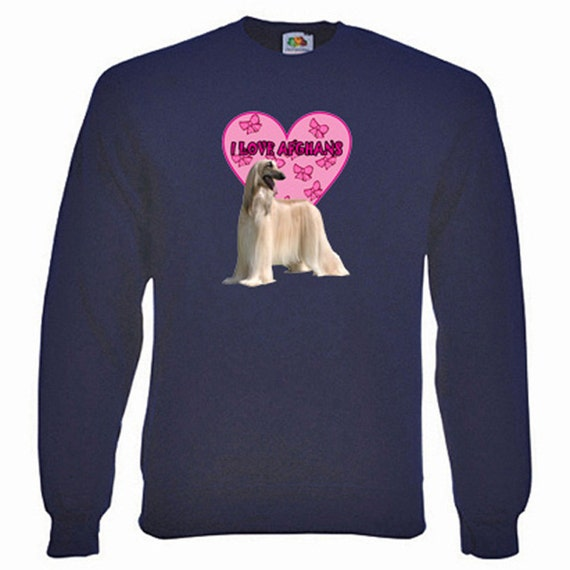 Afghan Hound Sweatshirt. Fleecy Lined Ribbed Cuffs and Neck