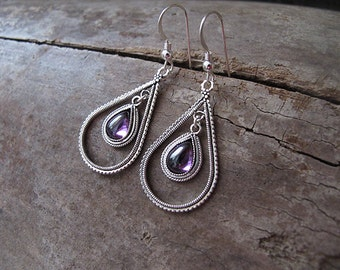 Amethyst earrings,Amethyst silver earrings,Jewelry,Filigree earrings,Israel jewelry, Ethnic earrings,Silver earrings