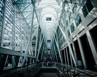 The interior of Allen Lambert Galleria, in downtown Toronto, Ontario. | Photo Print, Stretched Canvas, or Metal Print.