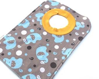 Boys Bib - Boys Elephant Bib - Large Pullover Bib - Blue Baby Bib - Toddler Bib