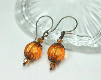 Pumpkin Earrings, Halloween Earrings, Orange Pumpkin Earrings, Halloween Jewelry, Fall Earrings, Pumpkin Dangle Earrings